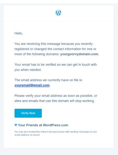 Exemple d'e-mail de vérification du nom de domaine